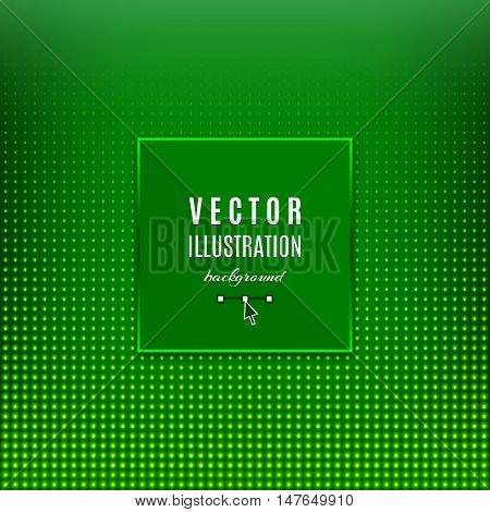 Green abstract background, Geometric frame with light effects, Halftone square light background, place for text. Green dots design background. Vector flyer, design template, card, banner or poster