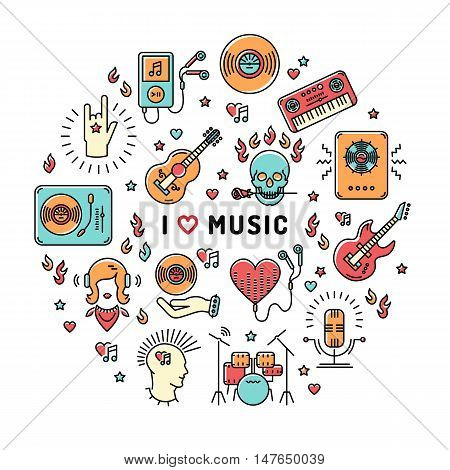 I love music - inspiring quote. Music infographics, trendy icons line art style. Colorful isolated illustration for musical poster, cards, banners, flyers, brochures. Music studio moderm vector