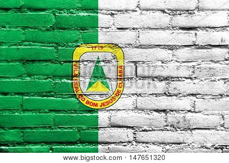 Flag Of Cuiaba, Mato Grosso, Brazil, Painted On Brick Wall