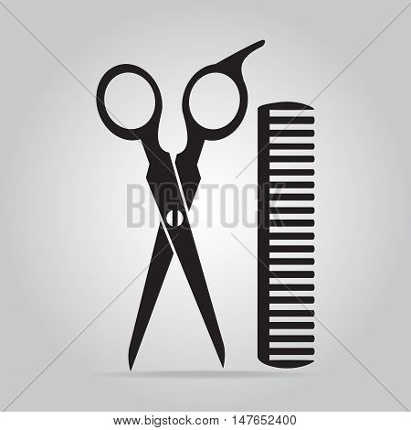 Hair salon with scissors and comb icon vector illustration