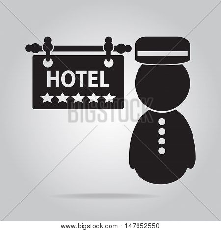 Bellboy and Hotel sign and five stars icon