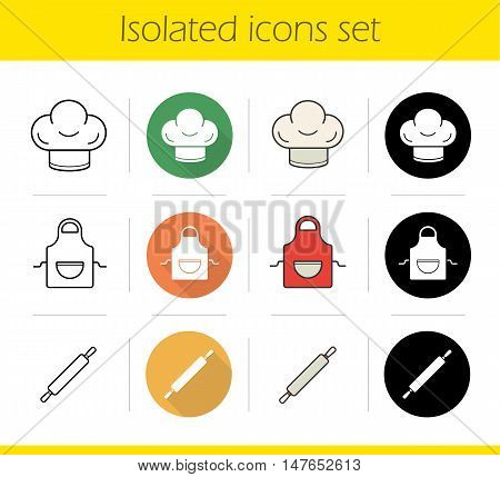 Kitchen accessories icons set. Flat design, linear, black and color styles. Chef's hat and apron, rolling pin. Baker's cooking instruments. Isolated vector illustrations