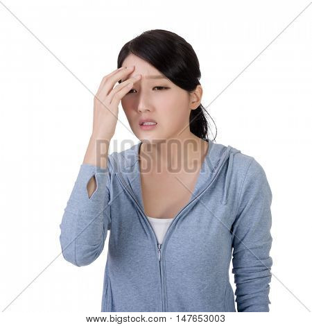 young asian woman with pain of headache