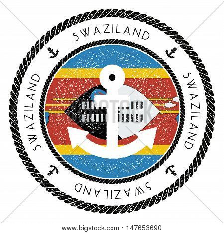 Nautical Travel Stamp With Swaziland Flag And Anchor. Marine Rubber Stamp, With Round Rope Border An