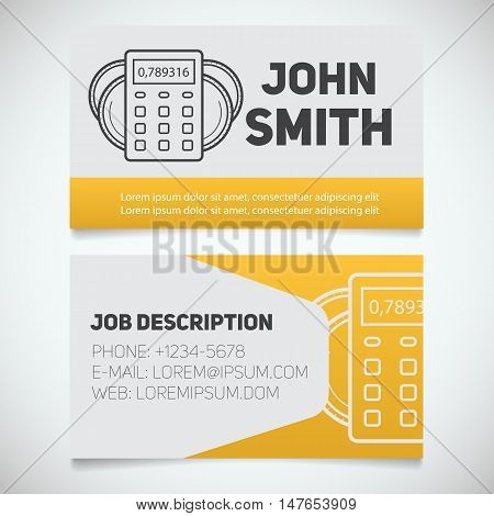 Business card print template with calculator and coins logo. Easy edit. Accountant. Cashier. Bank worker. Stationery design concept. Vector illustration