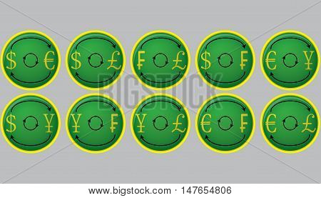 Currency exchange icon buttons. Currency and money exchange. currency symbols foreign exchange and money transfer. Vector illustration