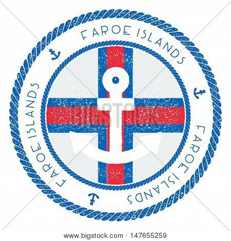 Nautical Travel Stamp With Faroe Islands Flag And Anchor. Marine Rubber Stamp, With Round Rope Borde