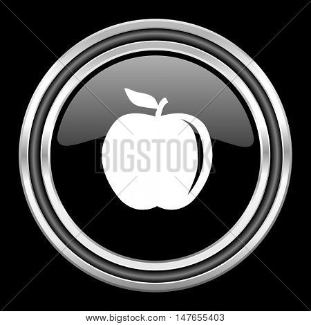 apple silver chrome metallic round web icon on black background