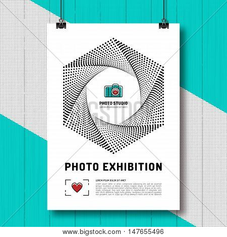 Photo exhibition design template poster or flyer. Camera aperture, shutter symbol. Photo and photographer modern design background. Vector illustration