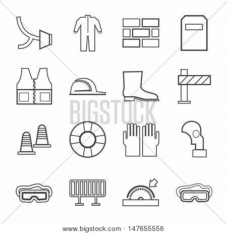 Labor protection, contour icons, monochrome. Vector flat icons with protective clothing and items of human security. Dark grey linear image on a white background.
