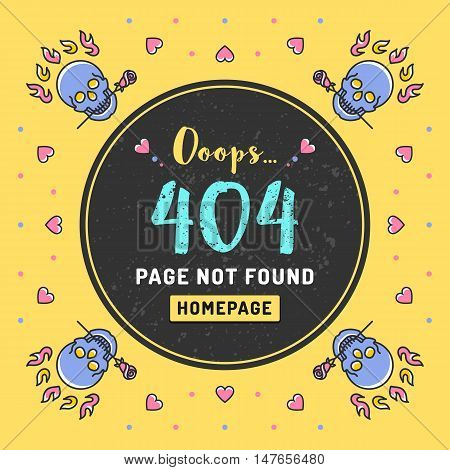 Page not found Error 404, web template. Vector illustration of page with an error message, colorful skulls, hearts and roses in a thin line art style