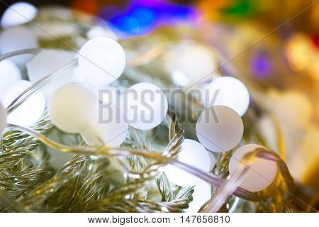 New electric garland of LED balls. Abstract background, shallow depth of field.