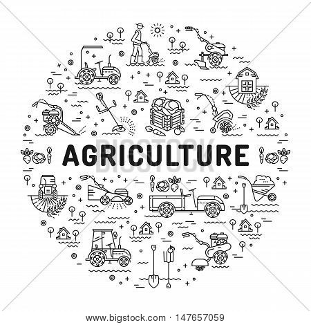 Agriculture and farming line art icons, farm infographics design template. Garden tiller and farm machines. Vector illustration agriculture and gardening mock-up flyers, banners, book covers, web