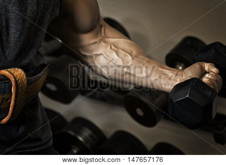 Sport. Strong athlete holding a dumbbell in his muscular arm -- toned and stylized photo