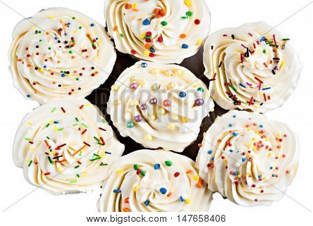 celebratory a cupcakes on a white background.