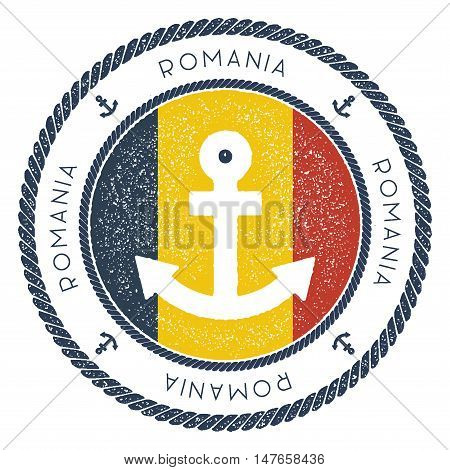 Nautical Travel Stamp With Romania Flag And Anchor. Marine Rubber Stamp, With Round Rope Border And