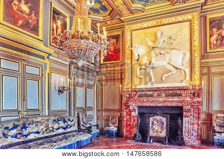 Fontainebleau, France - July 09, 2016 : Fontainebleau Palace Interiors. The First Saint-louis Room.