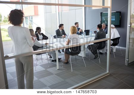 Business people at meeting in successful company
