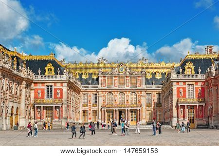 Versailles, France - July 02, 2016 : Head (main) Entrance With  The People ( Tourists)  In The Versa