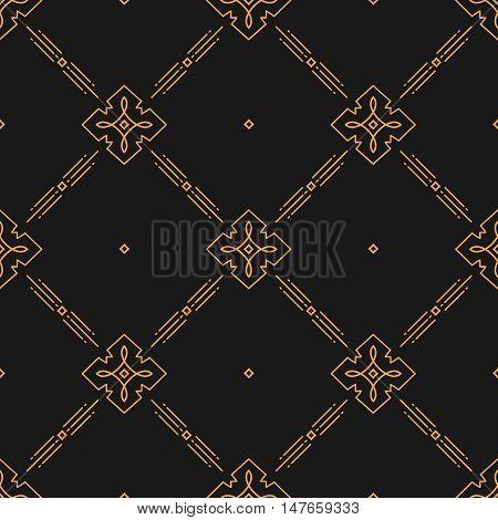 Thin line art seamless pattern, Elegant minimal design geometric ornament, Vector abstract rhombic pattern, gold on a dark background