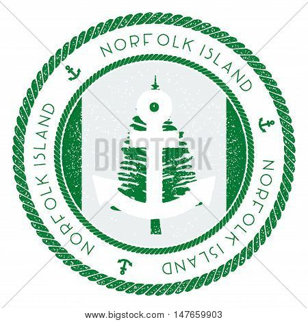 Nautical Travel Stamp With Norfolk Island Flag And Anchor. Marine Rubber Stamp, With Round Rope Bord