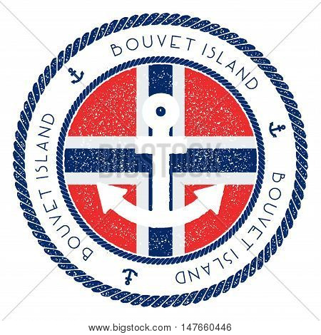 Nautical Travel Stamp With Bouvet Island Flag And Anchor. Marine Rubber Stamp, With Round Rope Borde