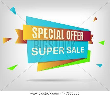 Super sale banner. Colorful discount element. Vector illustration