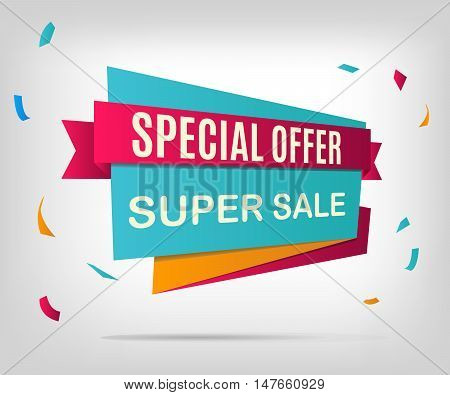 Sale banner. Colorful discount element. Vector illustration