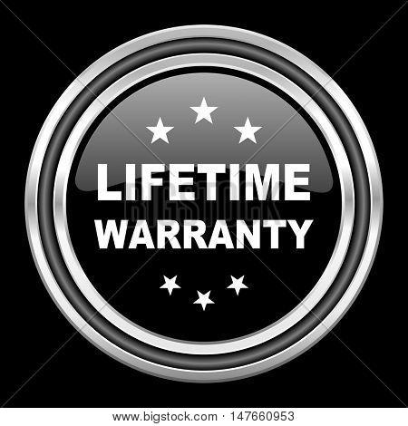 lifetime warranty silver chrome metallic round web icon on black background