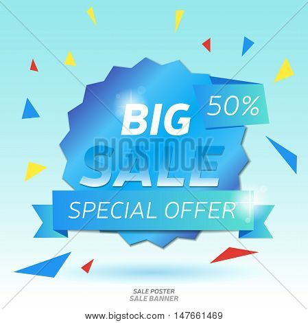 Sale banner. Shiny discount badge template. Vector illustration.