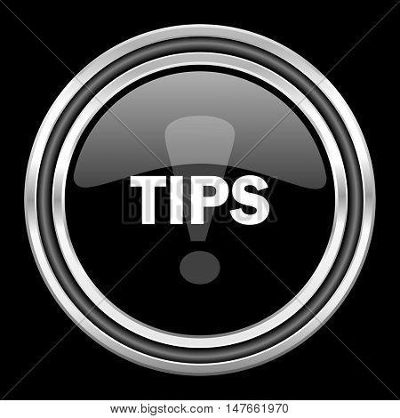 tips silver chrome metallic round web icon on black background