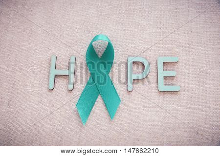Teal Ribbons With Hope Word, Ovarian Cancer, Cervical Cancer, Kidney Cancer Awareness
