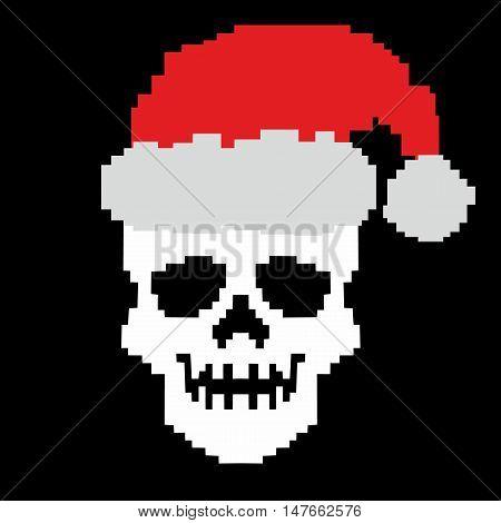 pixel coat of arms with skull, digital vintage design t-shirts