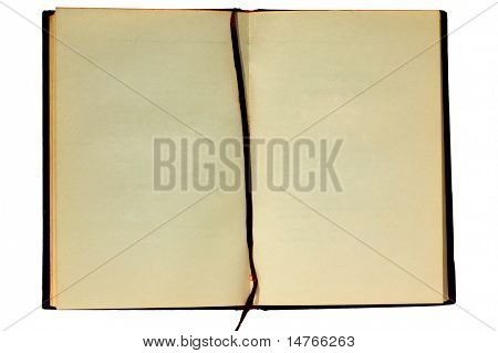 Old blank book on white background