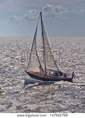Fast Sailing Boat Racing In Stormy Weather In The Netherlands