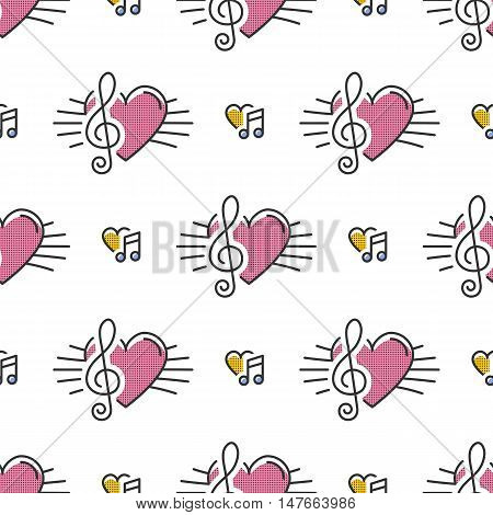 Music notes seamless pattern, thin line art icons notes, treble clef, hearts. Isolated icons on white background, Vector illustration