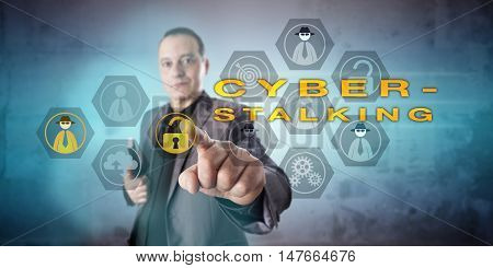 Crime investigator is looking into a CYBERSTALKING scenario. Kind but intent and preoccupied facial expression. Resolute and energetic touch with finger. Concept for cybercrime and criminal offense. poster