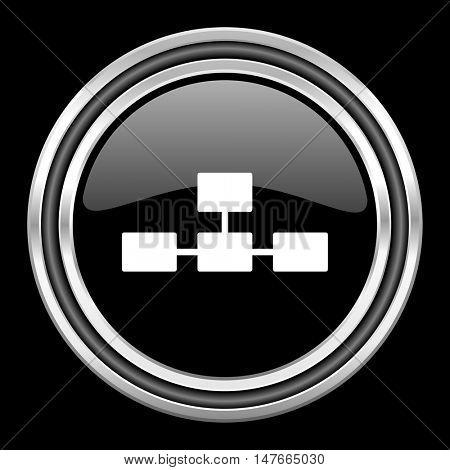 database silver chrome metallic round web icon on black background