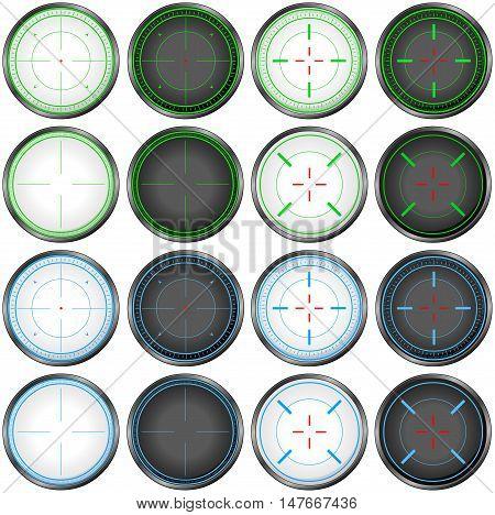 Vector illustration pack of sniper targets scopes