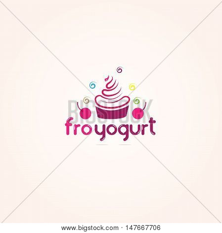 Cupcake logo, ice cream, yogurt, cake vector design
