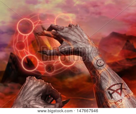 3D illustration of a demon hands spelling. 3d first person demonic hands with claws casting flame spell pentacle on hellish landscape background.