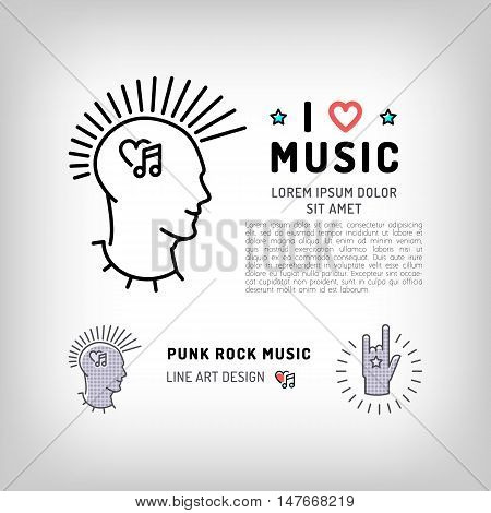 Punk rock music icons, rock hand symbol, the concept symbols of love for music. Vector logos in modern art thin line style, card template, poster or banner for a rock music studio and shop