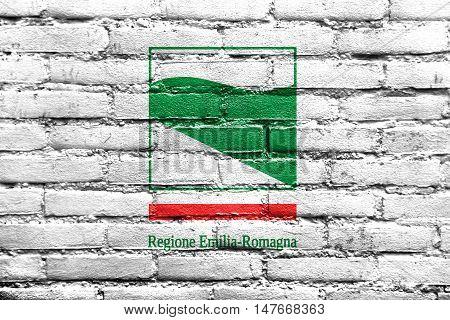 Flag Of Emilia-romagna, Italy, Painted On Brick Wall