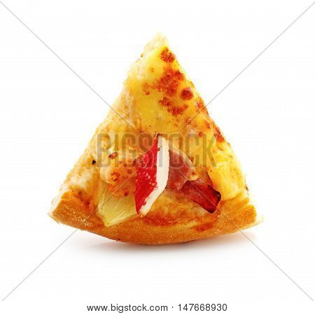 Cut off slice pizza isolated on white background.