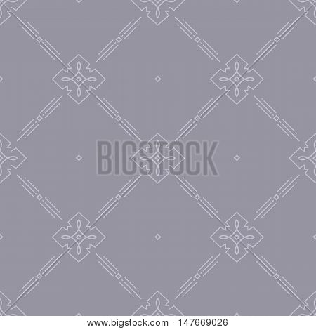 Thin line art seamless pattern for web site, Elegant minimal design geometric ornament, Vector abstract rhombic pattern, lilac gray background