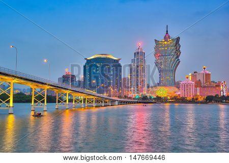 View Of Macau City Skyline At Night