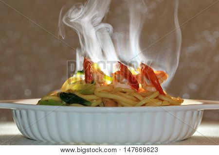 Aroma smell of Spicy fried Chinese noodle with shrimp on selective focus