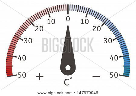 Thermometer semi-circle dial. Vector illustration isolated on white background
