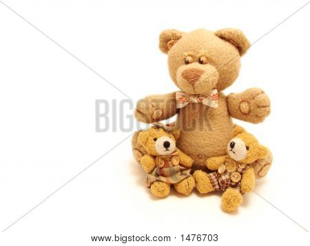Family Of Teddy Bears Sitting In A White Background