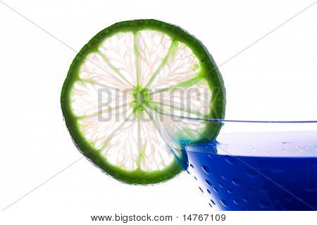 Cocktail with blue curacao isolated on white background